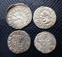 HUNGARY / 4 x MEDIEVAL SILVER COINS LOT 8./ 1350 -1450 years