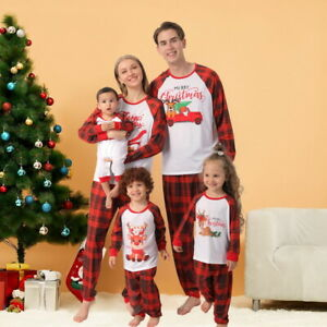 Christmas Parent-child Wear Printed Round Neck Long-sleeved Trousers Homewear^