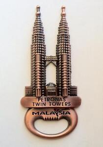 ▓ MALAYSIA PETRONAS TOWER antique gold FRIDGE/ REF MAGNET COLLECTIBLE SOUVENIR