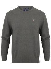 Gant Dark Grey Crew Neck Premium Cotton Mens Jumper - 2XL / XXL