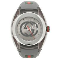Brand New Gucci Sync XXL Swiss Date Gray Dial Gray Rubber Unisex Watch YA137109