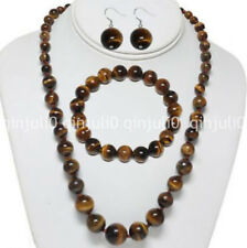 Natural 6-14mm Yellow Tiger's Eye Round Beads Necklace Bracelet Earrings JN717