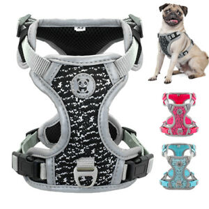 No Pull Large Dog Harness Reflective Soft Mesh Padded Adjustable Strap Vest S-L