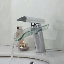 Bathroom Faucet Glass Waterfall Spout Solid Brass Chrome Sink Vessel Mixer Tap