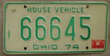 "1974 1975 OHIO HOUSE VEHICLE LICENSE PLATE # 66645  LIKE 6""s?"