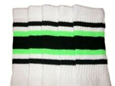 "30"" OVER THE KNEE WHITE tube socks with BLACK/NEON GREEN stripes style 4 (30-18)"