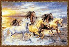 In The Sunset Running Horses Premium Cross Stitch Kit Riolis