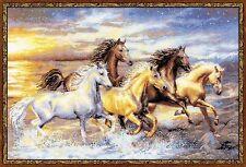 "In The Sunset (Running Horses) Premium Cross Stitch Kit -Riolis- 23.5"" x 15.75"""
