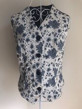 Womens Waistcoat Size 10 Ivory White Navy Blue Floral Vintage With Buttons