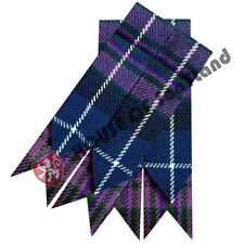 HS Men's Kilt Hose Sock Flashes Pride Of Scotland Tartan Garter Highland Ware