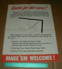 1955 Vtg original Ford Motor Company Dearborn MI LW Smead dealer showroom Poster