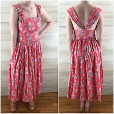 Vintage 80s Laura Ashley Peach Pink Floral Full Skirt Pocket Cotton Dress XS S