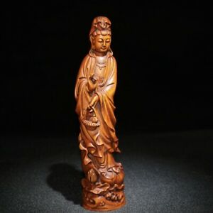antique chinese wood carving wooden statue carvings decor Kwan-yin bodhisattva
