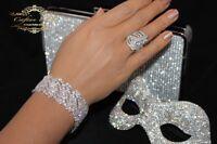 Edeles XL Luxus Strass Armband Breit Brautschmuck Bracelet Hochzeit Silber