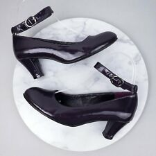 Forleria 36 Heels Patent Leather Pointed Toe Ankle Strap Purple Buckle Shoes S31