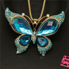 New Betsey Johnson Cute Blue Butterfly Large Crystal Pendant Chain Necklace