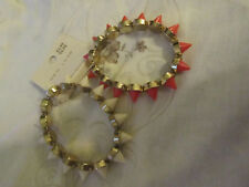 New Look Gold Tone Pink & White Spiky Punk Look Elasticated Bracelet x 2 - NEW