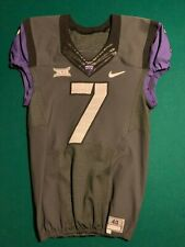 TCU Texas Christian Game Worn GRAY w/ Purple Sleeves NIKE FLYWIRE Jersey #7 Sz40