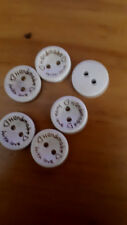 10X/15mm APROX 2 HOLE biege HANDMADE MADE WITH LOVE WOOD BUTTONS  ALL CRAFTS