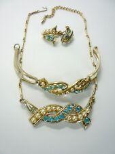 Vintage CORO Gold Tone Crystal Rhinestone Necklace Earrings and Bracelet Set