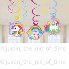 UNICORN Rainbow Girls Party Happy Birthday HANGING SWIRL DECORATIONS x6