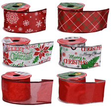 New Wired Edged Ribbon Christmas Poinsettia Red Snowflake ~ Choice