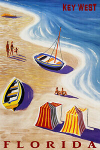 Key West Florida Beach Family Fun Summer Travel Vintage Poster Repro FREE S/H