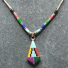 Vintage Native American Sterling Inlays Gemstone Necklace