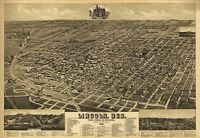 Map Aerial Birds Eye Lincoln Nebraska 1889 Canvas Art Print