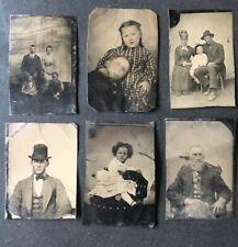 6 Antique TINTYPE photographs 1800's FAMILY primitive VICTORIAN ERA tin