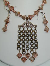 Hand-Made Chain Maille Pendant & Czech Glass Flowers on Antique Brass Set