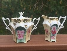 R.S. Prussia Sugar & Creamer Set - 6 Panel Floral with Twisted Handles