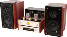 AMPLIFICATEUR A TUBES LAMPES  STEREO CD FM ENCEINTES BOIS VINTAGE  USB BLUETOOTH