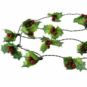 60 Red LED String Berry Christmas Lights (Battery Operated)