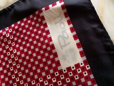 PAOLI Vintage Red Pink Black Geometric 100% Acetate Scarf Made In Japan Graphic