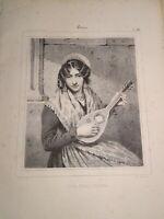 JULIEN (1802-1871) Litho XIX FEMME ITALIE NAPOLI ROMA MUSIQUE COSTUME 1840