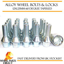 Set of 16 * 12x1.25mm Tapered Alloy Wheel Bolts + 4 Locking Lock Bolts + Nut Key
