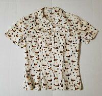 Vintage McMullen Blouse Short Sleeve Top Retro Duck & Trees Print Sz 8 - New