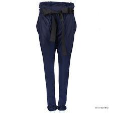 Thomas Wylde Midnight Blue Belted Silk-Charmeuse Harem Pants Trousers XS UK6