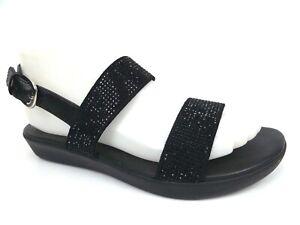 FitFlop Women's BARRA CRYSTALLED Open Toe Black Leather Sandal, SZ 6.0 M,  15941