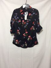 NWT Express Floral Butterfly Satin Portofino Shirt - S (Measurement In Pic)