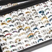 Wholesale bulk 50pcs/lot mix styles men's women's fashion stainless steel rings