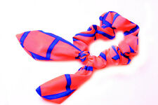 Neon Pink Elastic Scrunchie/Hair Band w Wired Bow/Ears Blue Checked Print (S618)