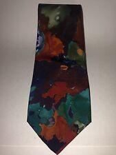 Hand Made Abstract Neck Tie 100% Italian Silk Amber Burgundy Green Vintage Mens