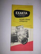 ORIGINAL  EXAKTA VAREX EXA IHAGEE DRESDEN 1961 Prospekt Kamera  DDR