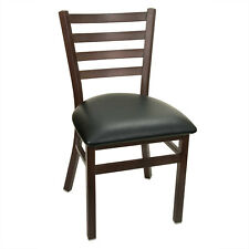 Lot of 4 New Gladiator Rust Metal Ladder Back Chair - Black Vinyl Seat
