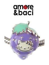 BNIB genuine AMORE BACI sterling silver LILAC HELLO KITTY STRAWBERRY charm bead