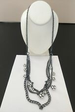 Premier Designs Jewelry ALL DECKED OUT Hematite Plated Crystals Necklace New