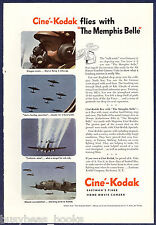 1944 Kodak advertisement, CINE-KODAK movie camera MEMPHIS BELLE WWII Bomber run