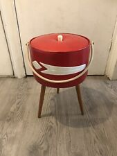 Beautiful Vintage 1960s Round Red Sewing Box Storage Box With Handle